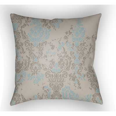 "Moody Damask Throw Pillow -Taupe/Light Blue-  20"" H x 20"" W x 5"" D-  Polyester/Polyfill insert - AllModern"