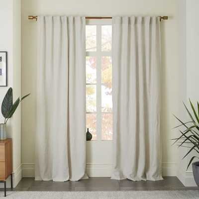 "Belgian Flax Linen Curtain - Natural-Blackout Lining-96"" - West Elm"
