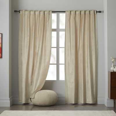 "Luster Velvet Curtain - Stone-  124""l x 96""w - West Elm"