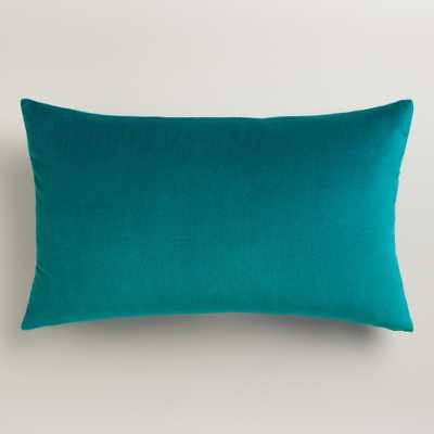 "Teal Velvet Lumbar Pillow - 12"" x 20"" - Polyester filling - World Market/Cost Plus"