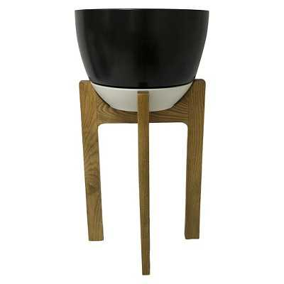 """Wooden Planter Stand with Pot 24"""" - Black - Thresholdâ""""¢ - Target"""