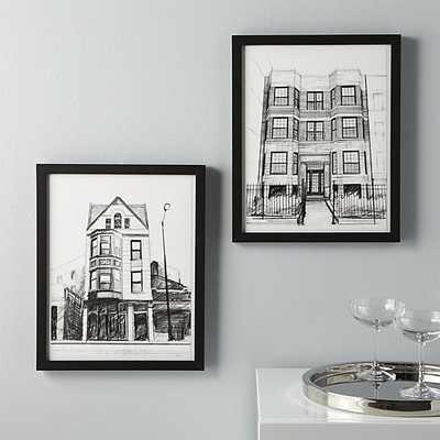 Set of 2 neighborhood prints 13x16 Black frame without mat - CB2