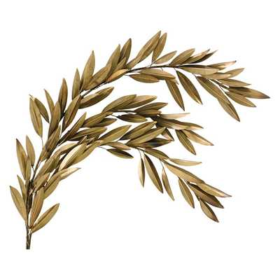 BRASS OLIVE BRANCH RIGHT WALL DÉCOR - Dwell Studio
