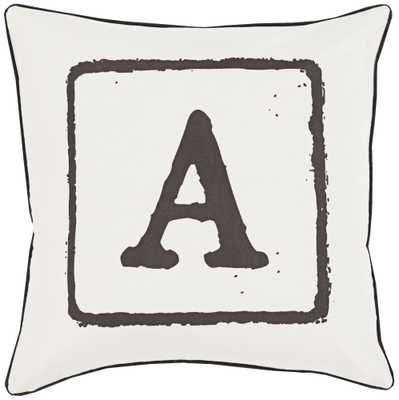 """Surya The A Team White and Black 18"""" Square Throw Pillow - Lamps Plus"""