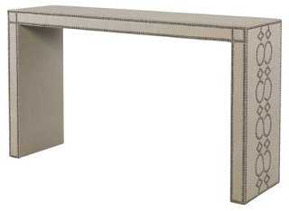 "Bradshaw 54"" Upholstered Console, Khaki - One Kings Lane"