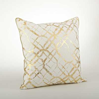 """Lustrous Metallic Foil Print Throw Pillow- 20"""" H x 20"""" W x 6"""" D- Gold- Down/Feather insert - AllModern"""