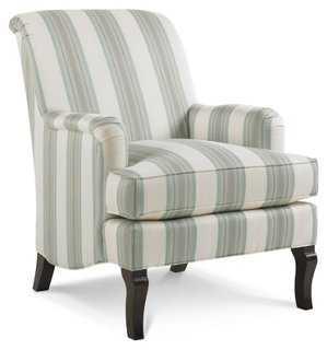 Ava Striped Club Chair, Blue/White - One Kings Lane