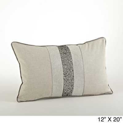 Beaded Design Throw Pillow - 12x20, With Insert - Overstock
