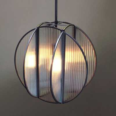 Industrial Textured Glass Pendant - Circle - West Elm