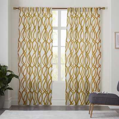 """Cotton Canvas Scribble Lattice Curtain - 108""""l x 48""""w - West Elm"""