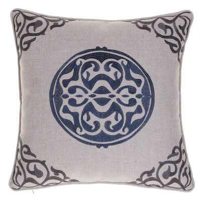Embroidered Medallion Throw Pillow - 20 x 20. Indigo/Iron,  with Insert - Wayfair
