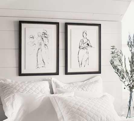 Gestural Figural Sketches Framed Print - SET OF 2 - 20x26 - Framed - Pottery Barn