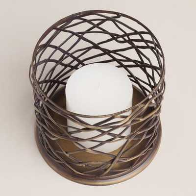 Woven Metal Brookyn Hurricane Candleholder-Medium - World Market/Cost Plus