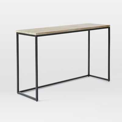 Box Frame Console Table - Wood/Antique Bronze, Whitewash - West Elm