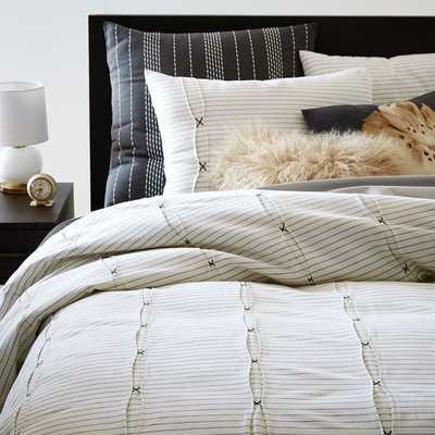 Pleats + Stripes Duvet Cover, King, Ivory/Slate - West Elm