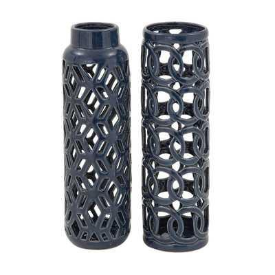 2 Piece Ceramic Vase Set - Dark Gray - Wayfair