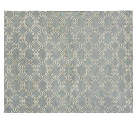 SCROLL TILE RUG, 8 X 10', PORCELAIN BLUE/IVORY - Pottery Barn
