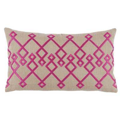 Geometric Zigzag Embroidered Pillow - Fuschia On tan - Scenario Home