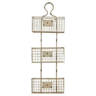 3 Tier Wire Basket Wall Shelf - Wayfair