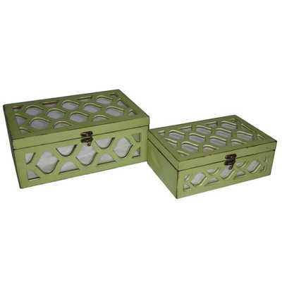 2 Piece Box with Front and Top Mirror with Wood Morrocan Overlay Set - Green - AllModern