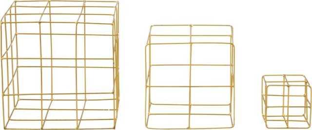 3-piece brass wire cube set - CB2