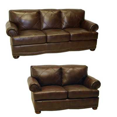 Shoreline Italian Leather Sofa and Loveseat - Overstock