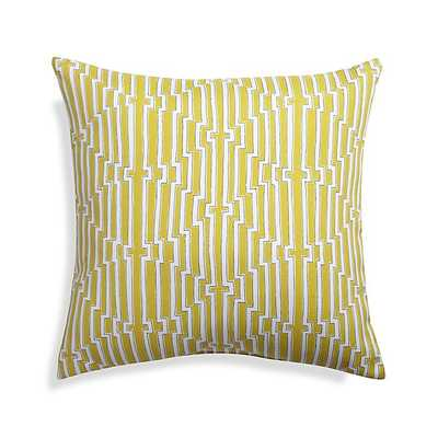 """Maze 20"""" Sq. Yellow Outdoor Pillow-Insert included - Crate and Barrel"""