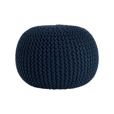 Saro Cotton Twisted Rope Pouf Ottoman - Navy Blue - Wayfair