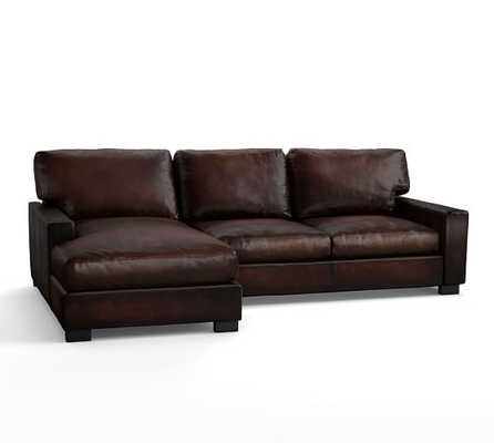 TURNER SQUARE ARM LEATHER TURNER SQUARE ARM LEATHER SOFA WITH CHAISE SECTIONAL - Pottery Barn