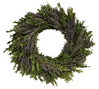 "22"" Boxwood & Lavender Wreath, Dried - One Kings Lane"