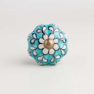 Turquoise Ceramic Knobs, Set of 2 - World Market/Cost Plus