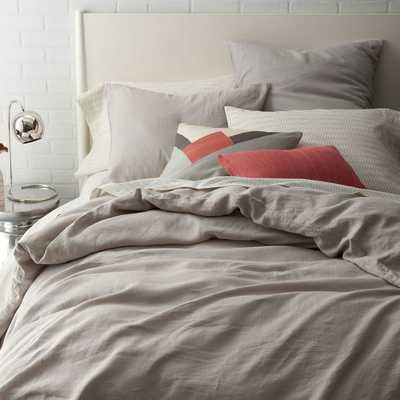 Belgian Linen Duvet Cover- Platinum- King - West Elm