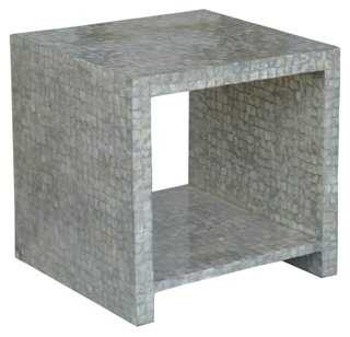 Efimia Cube Side Table, Capiz - One Kings Lane