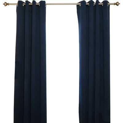 """Blackout Antique Brass Grommet Top Curtain Panel-Navy-74"""" - Wayfair"""