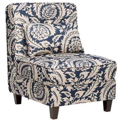 Mattie Tufted Slipper Tan/Navy Print Chair - Overstock