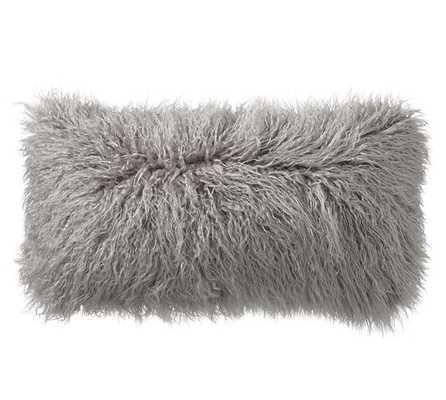 "Mongolian Faux Fur Lumbar Pillow Cover, 12 x 24"", Frost Gray, No Insert - Pottery Barn"