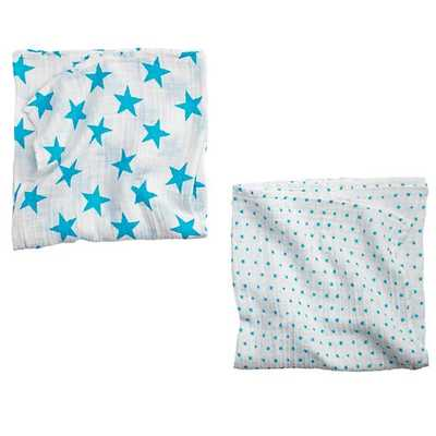 Blue Star Swaddle Blankets Set of 2 - Land of Nod