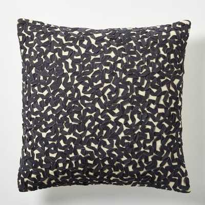 "Twill Ribbon Maze Pillow Cover, 16""sq, Slate, No insert - West Elm"