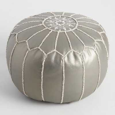 Metallic Embroidered Leather Pouf - World Market/Cost Plus