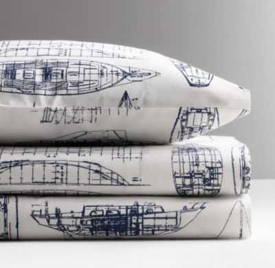 Vintage sailboat blueprint crib fitted sheet - RH Baby & Child