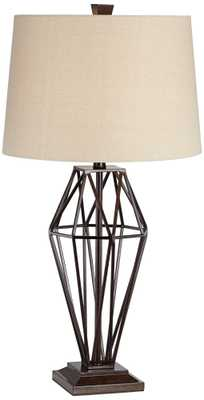 Franklin Iron Works Grid Openwork Bronze Table Lamp - Lamps Plus