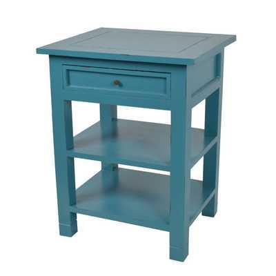 Decorative Blue Newton Contemporary Mahogany Side Table - Overstock