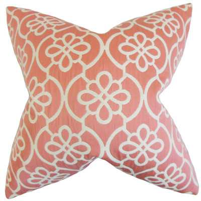 "Indre Geometric Throw Pillow - Coral - 18"" H x 18"" W - Down/Feather Fill - Wayfair"
