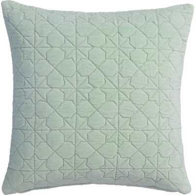 "August quilted mint 16"" pillow with feather insert - CB2"