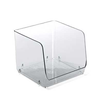 Linus Large Open Stacking Bin Clear - containerstore.com