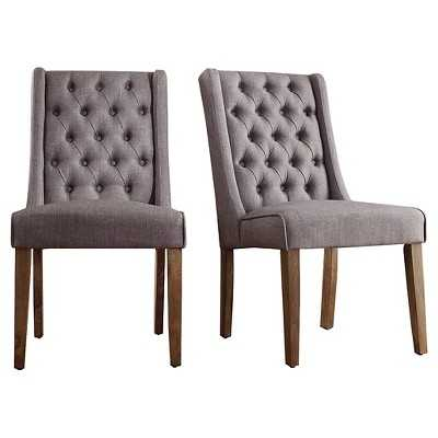 Inspire Q Old Town Wingback Button Tufted Hostess Chair - Smoke (Set of 2) - Target