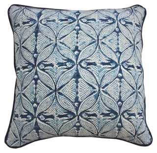 Chic 20x20 Cotton-Blend Pillow, Indigo-with insert - One Kings Lane
