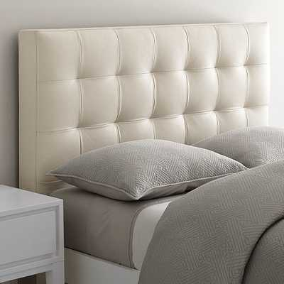 Low Grid-Tufted Leather Bed - Ivory - Queen - West Elm