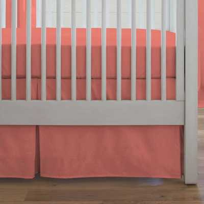 Solid Coral Crib Skirt Box Pleat - babybedding.com