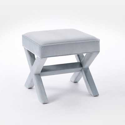 Cross Base Ottoman - Luster Velvet, Silver - West Elm